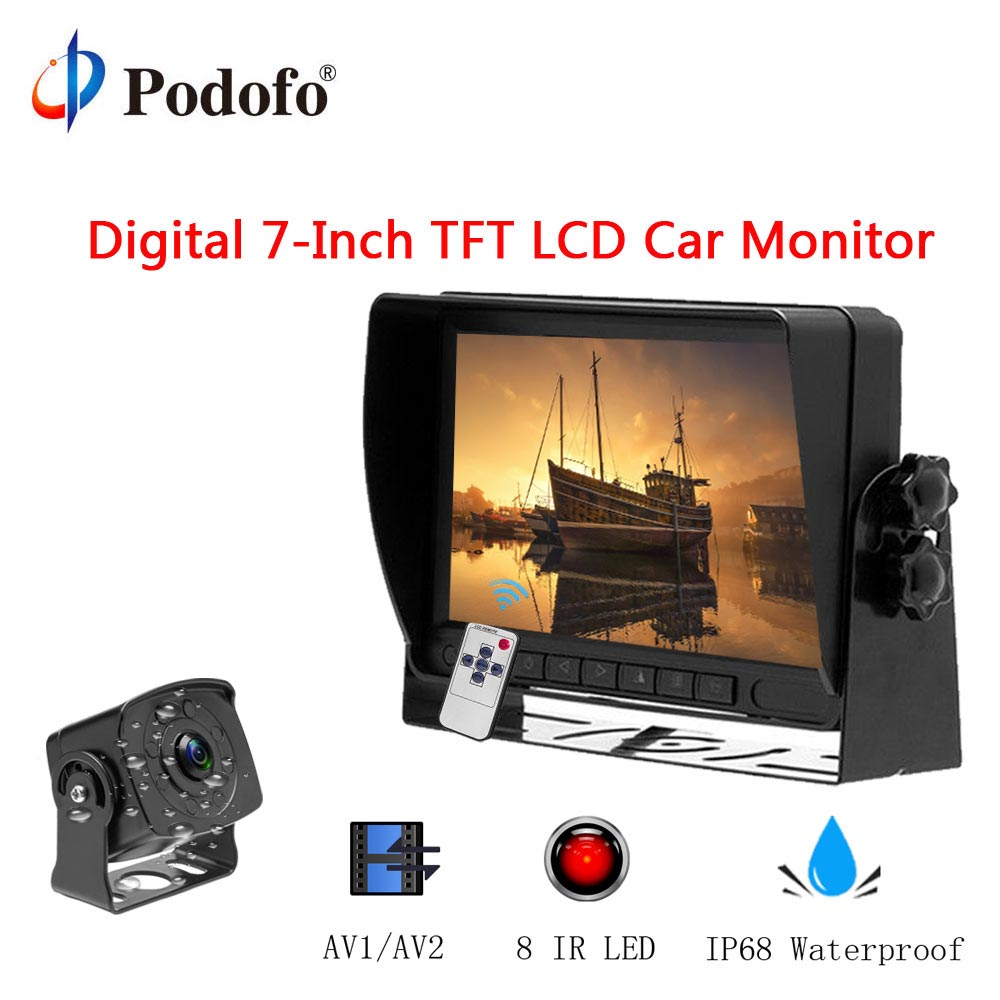 Podofo 7 TFT LCD Display Monitor + Digital Wired Car reverse Back up Camera 15M long Video Cable Infrared for Truck/Van/RV