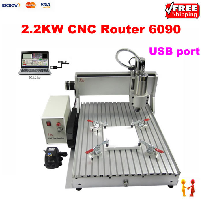 цена на USB PORT mini CNC router 6090 3axis 3D drilling machine 2.2KW water cooled spindle with limit switch