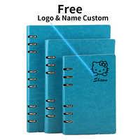 Кожаный блокнот A5 с бесплатным логотипом, блокнот с кольцами