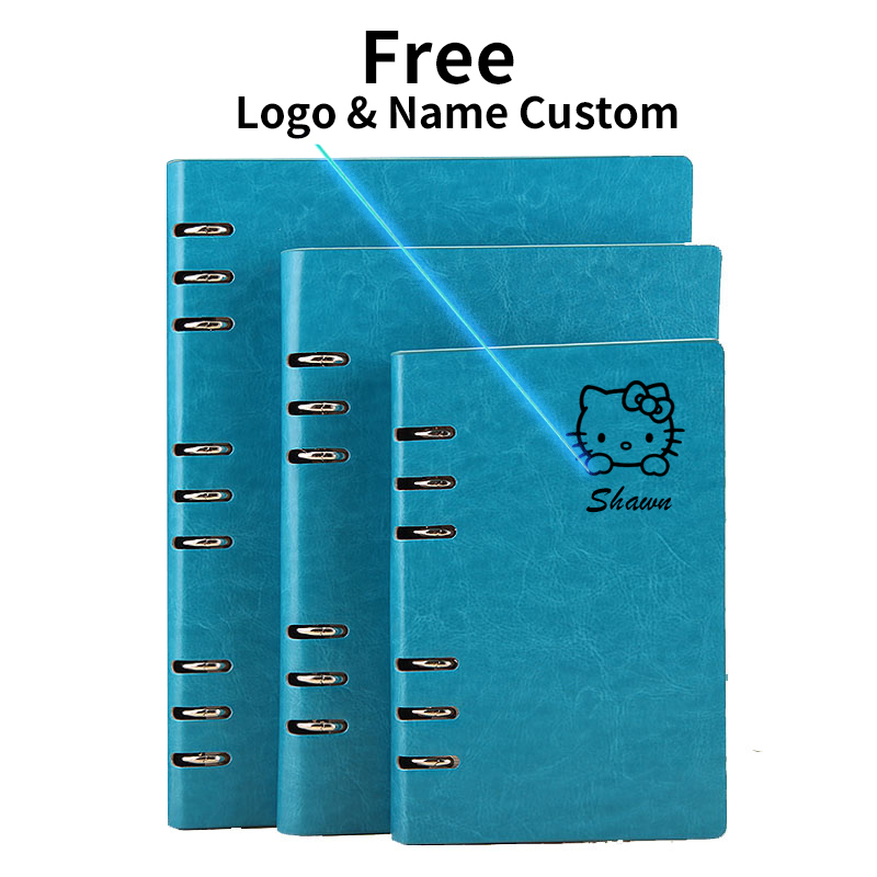 Free Logo Custom Leather A5 Notebook Writing Pads Binder Loose Leaf Diary Office School Mini A6 PU Notepad With Rings