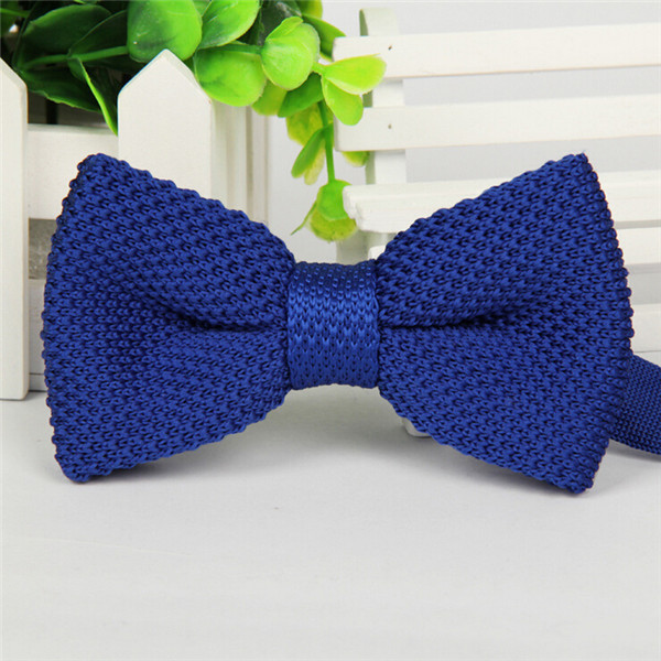 Фирменная новинка, мужской однотонный Вязаный Галстук-бабочка, Модный свадебный смокинг, красный, черный, белый, зеленый, голубой конфетный цвет, галстуки-бабочки - Цвет: 12