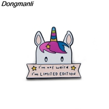 B2135 Dongmanli jewelry high quality Cute horse Metal enamel Pins & Brooches for women Kids badge gift