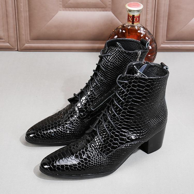 Европейский стиль змеиной кожи из лакированной кожи ботинки в стиле милитари черные на шнуровке ботильоны Мужская увеличивающие рост ковб...