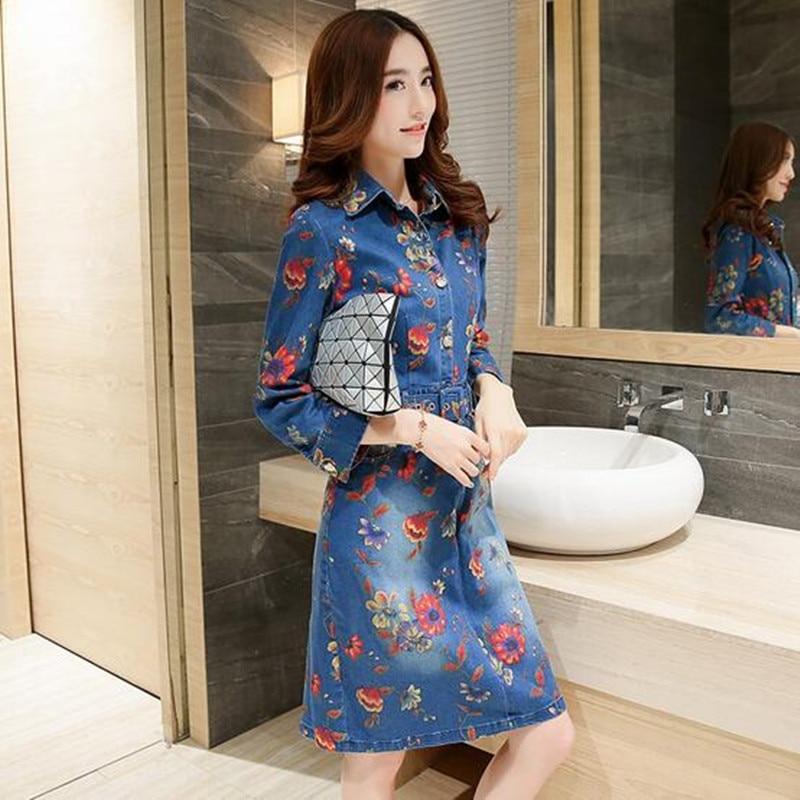 vestidos 2017 spring women denim dress floral printed plus size