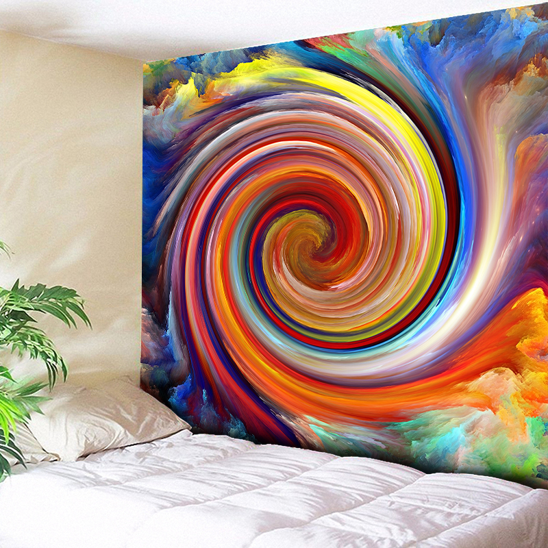 Cyclone Watercolor Wall Decor Hanging Tapestry Mandala Cloth Yoga Mats Chic Home Decoration Blanket Beach Throw 3D Art Carpets in Tapestry from Home Garden