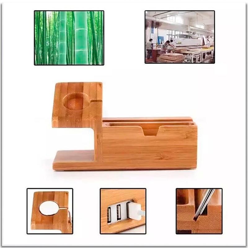 imágenes para Docking halterung stand holder cargador de 3 puertos usb estación de carga del teléfono de madera para apple watch para iphone bambú lade estación