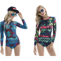 Long Sleeves Printed One Piece Woman Swimwear Swimsuits Female Swimming Bodysuits Bathing Suits Bikini Briefs Woman Rash Guard