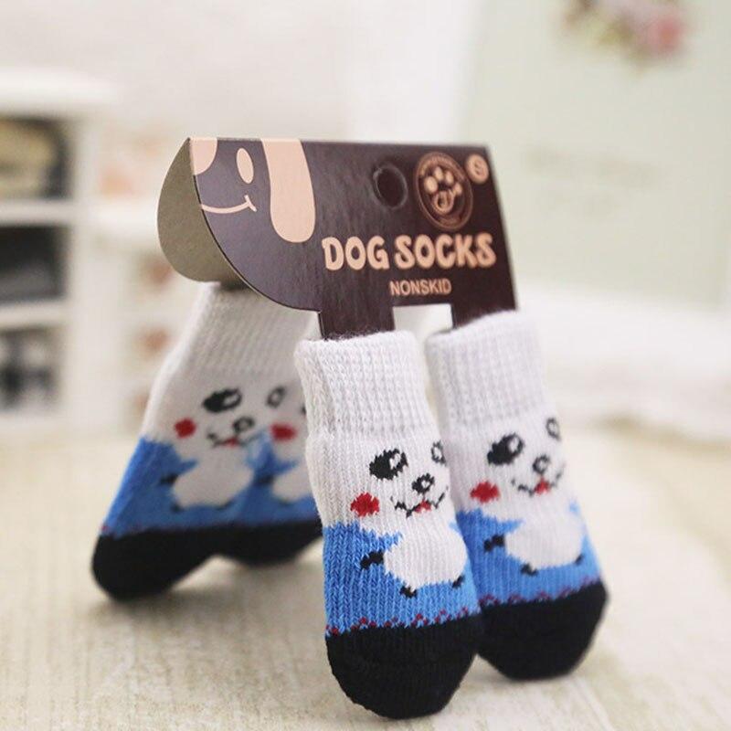 4 Pcs Pet Dog Socks Non-Slip Soft Warm Breathable Elasticity For Autumn Winter HG99