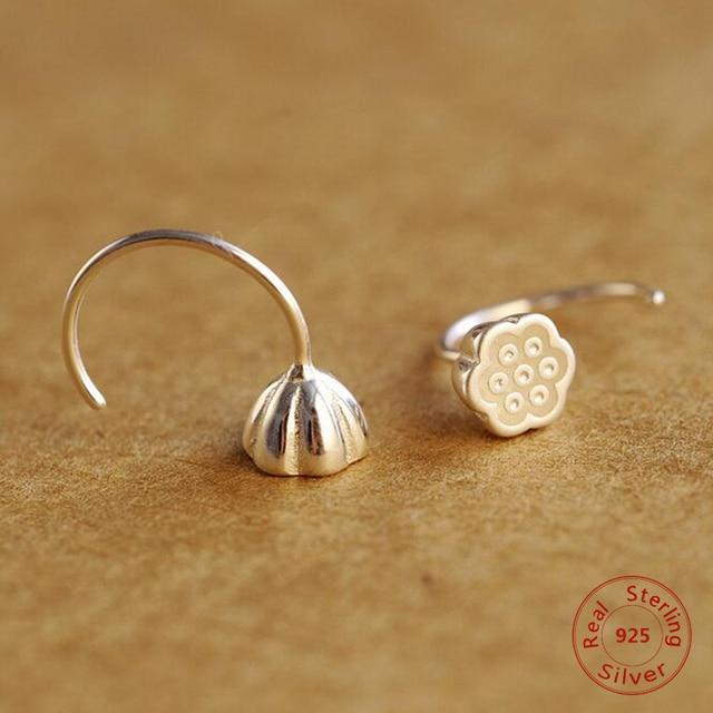 Серьги-гвоздики в форме растения в китайском стиле с корнем лотоса для женщин маленькие ювелирные изделия ручной работы из стерлингового серебра 925 ювелирные изделия серебряные серьги