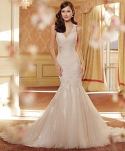 Free Shipping Mermaid V Neck Low Cut Keyhole Back Sweep Train Tulle Wedding Gown Designs 2014 With Appliques ST11418