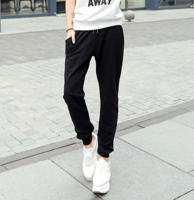 937f605860 US $18.32 |Women's Sports Rib Cuff Harem Jogger Pants Junior Cotton Slim  Fit Plus Size W/ Pockets Drawcord Full Skinny Casual Sweat Pants-in Running  ...