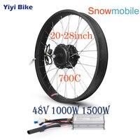 48V 1000W 1500W Electric Snow Bike DC Motor Brushless Motor Controller Conversion Kit 20 26 inch 700C Bicicleta Fat Motor Wheel