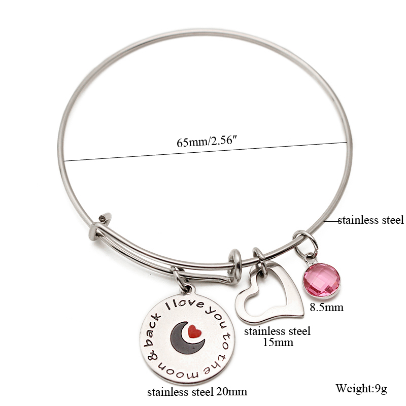 I Love You Crystal Birthstone Heart Charm Bracelets Bangle Stainless Steel Bangles For Women 2018 Fashion Jewelry With Gifts Box