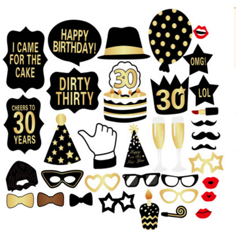 16th 30th 40th Photobooth Props Party Decor Kids Birthday Party Paper Props Wacky Birthday Wedding Anniversary Cake Decoration