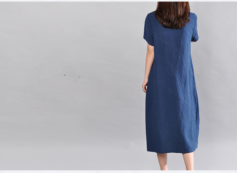 2018 New Summer Women Long dress Solid Slim Loose Cotton And Linen Dresses Blue Dark Green Rust Red 5676 in Dresses from Women 39 s Clothing