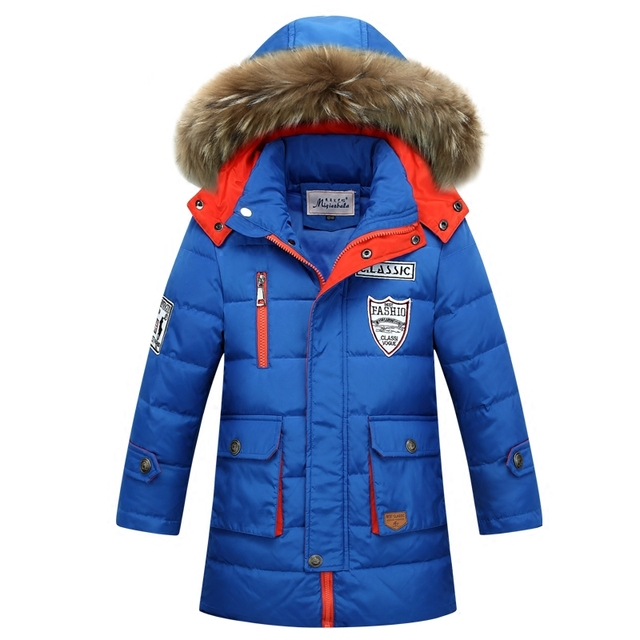 8 - 12 лет новое +2015 Детский Зимний пуховик для мальчиков зима 80 % утка