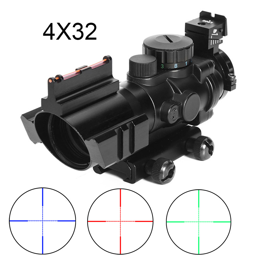 4x32 ACOG Optic Sight Tactica Reflex Illumination Fiber Hunting Prism Scope Mechanical Sight Rifle Airsoft Collimator Sight