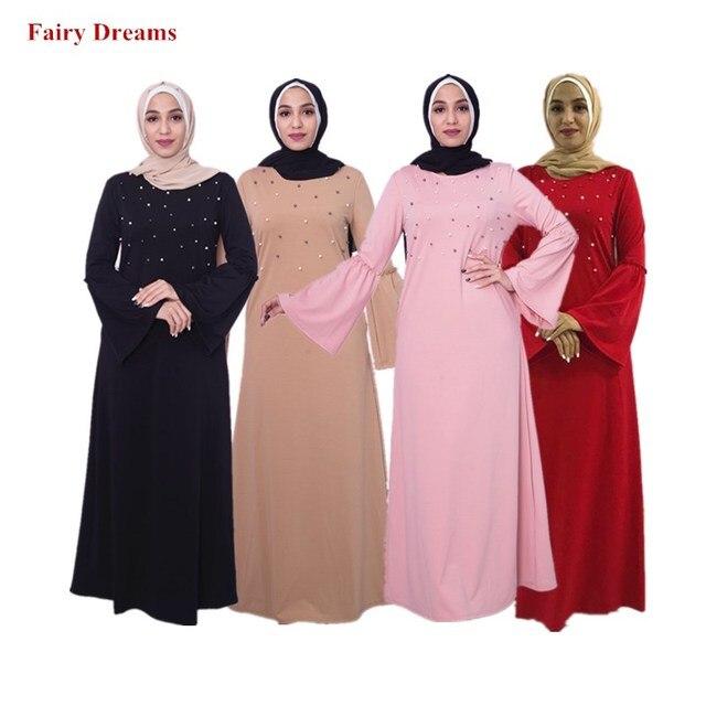 7758f8c180b Black Abayas Pearls Pink Red Women Islamic Clothing Hijab Dresses Maxi Muslim  Dress Bangladesh Kaftan Dubai