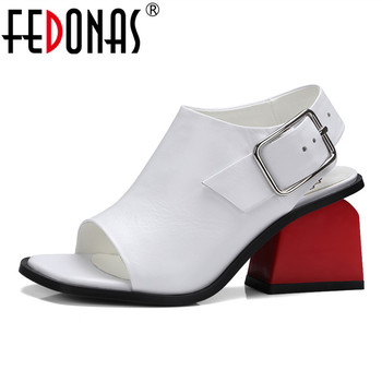 FEDONAS Women Pumps Spring Autumn Summer Genuine Leather Shoes Woman High Heels Platform Peep Toe Sandals Female Wedding Shoes