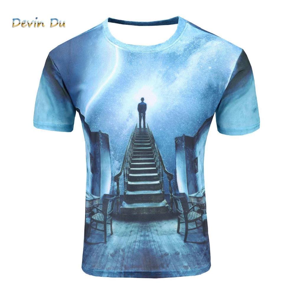 Новинка 2017 Galaxy пространство 3D футболка человек просмотра метеорный поток футболка с короткими рукавами Летние футболки для мужчин большие ...