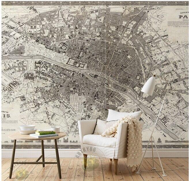 Papier peint personnalisé pour enfants, haute altitude donnant sur la carte DE construction DE la ville DE Paris