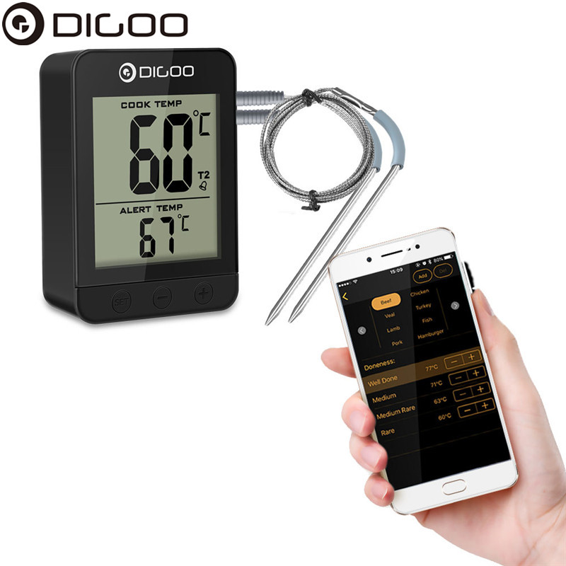 Digoo DG FT2203 Smart Bluetoorh LED Display BBQ Kitchen Cooking Thermometer Metal Probes APP Function For Meat Barbecue Grilling цена 2017