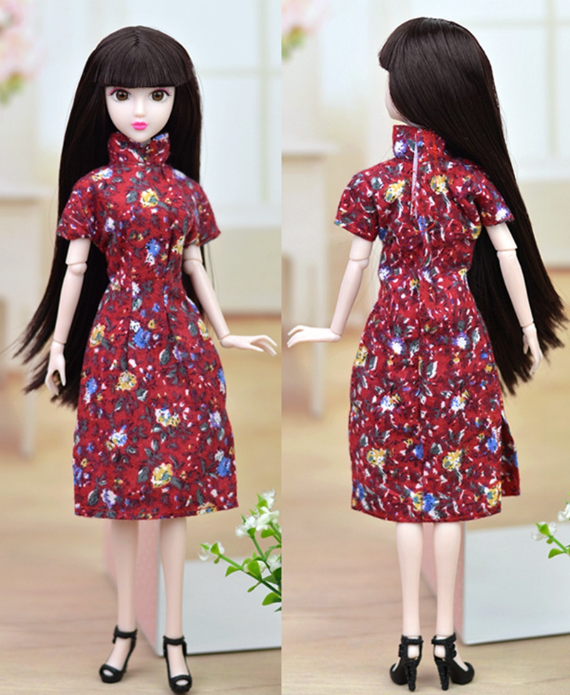 Distinctive Doll Equipment Handmade Costume For Barbie Cheongsam Chinese language Conventional Costume Vestido Flower Qipao Night Clothes