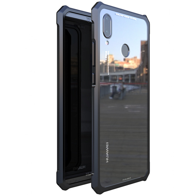 Transparent Retour En Verre Trempé Pour Huawei P20 Pro Cas De Protection Avions Pare-chocs En Métal Vis Cas de Téléphone portable Pour P20 Lite