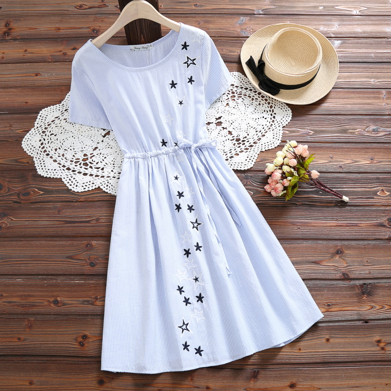 Elegant Blue Women Dress Mori Girl Star Embroidery Cute Mini Female Dresses Summer Cotton Casual Women Dress S-2XL