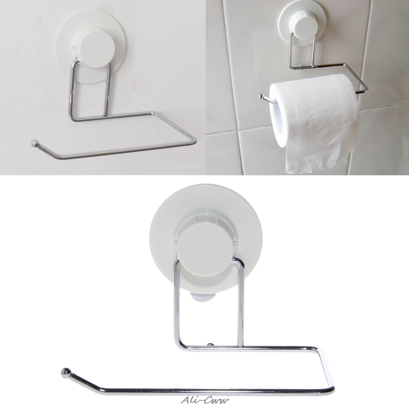 Toilet Paper Holder Bathroom Suction Hanger Tissue Rack Kitchen Towel Hook