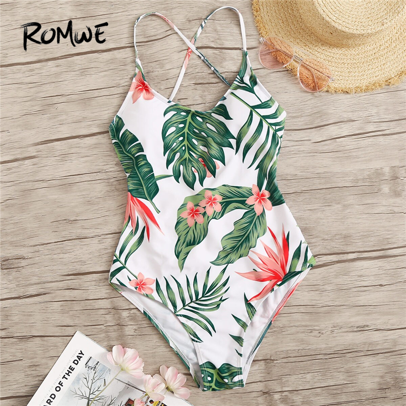 Romwe Monokini Swimwear Bathing-Suits Lace-Up One-Piece Women Summer Tropical-Print Beach