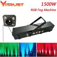 1500 Вт RGB туман машина 3 в 1 LED генератор дыма стадии огни, дым эффект освещения DJ оборудование световые эффекты AC110 240V