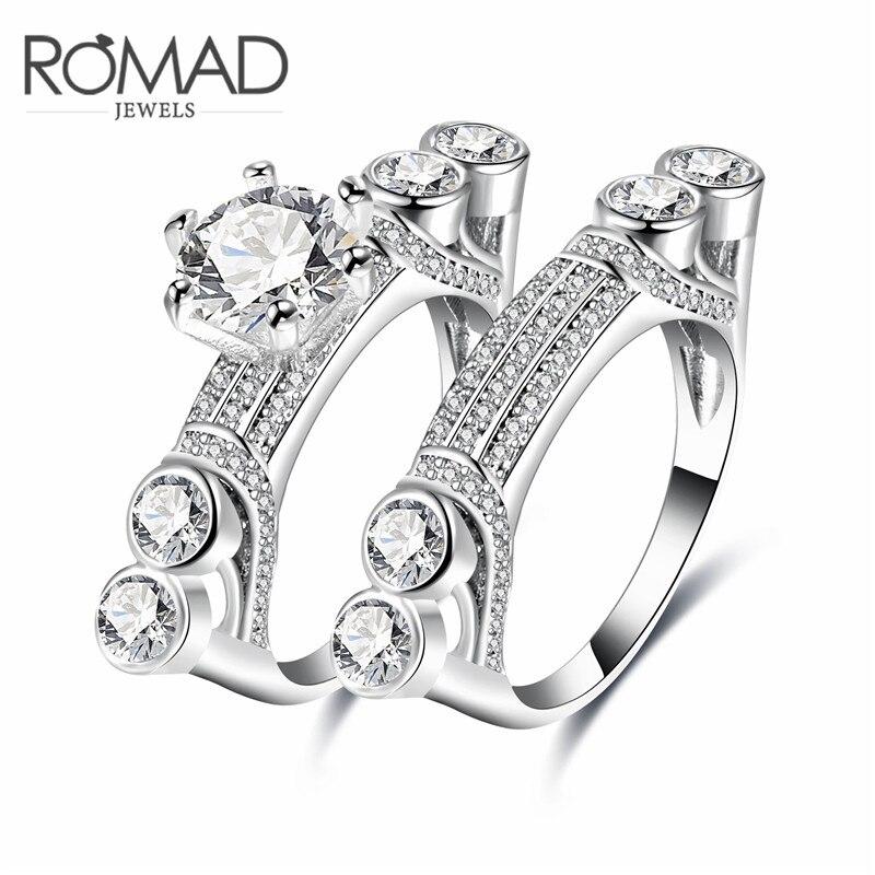 Зарплату классический Для женщин двойное кольцо ювелирные изделия более Циркон Белое золото Цвет Кольца