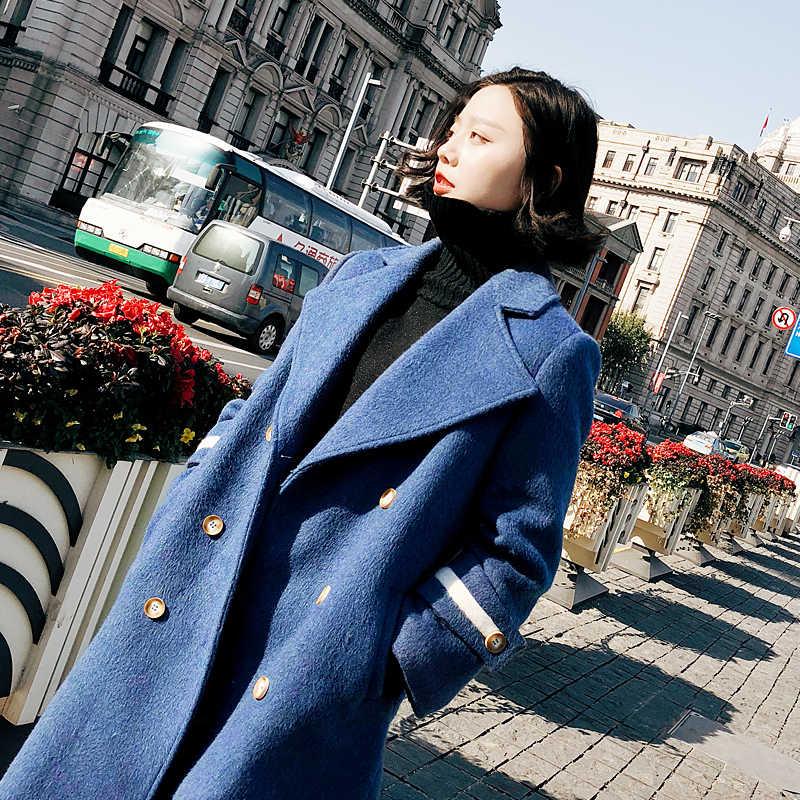 AYUNSUE российского климата, синий Шерстяное пальто женщин 2020 осень-зима тренчи Женский теплая кожаная куртка с отложным воротником Женский Верхняя одежда casaco feminino
