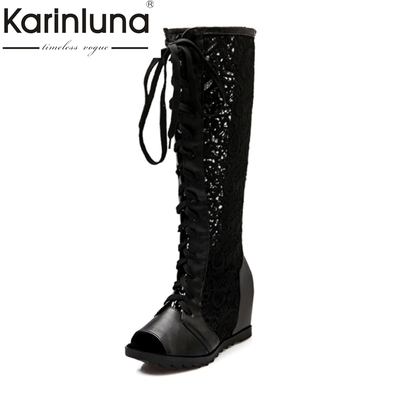 KARINLUNA Big Size 34-43 Inner Wedge Heels Women Shoes Lace Upper Knee High Boots Leisure Woman Summer Boots Peep Toe Platform