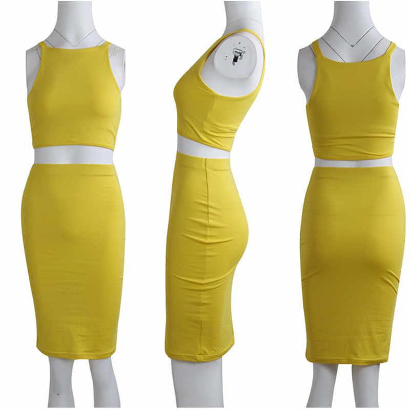 ANJAMANOR Crop top i spódnica sukienka dwuczęściowa zestaw żółty klub strój na lato Sexy ubrania dla kobiet pasujące zestawy D53-AZ17