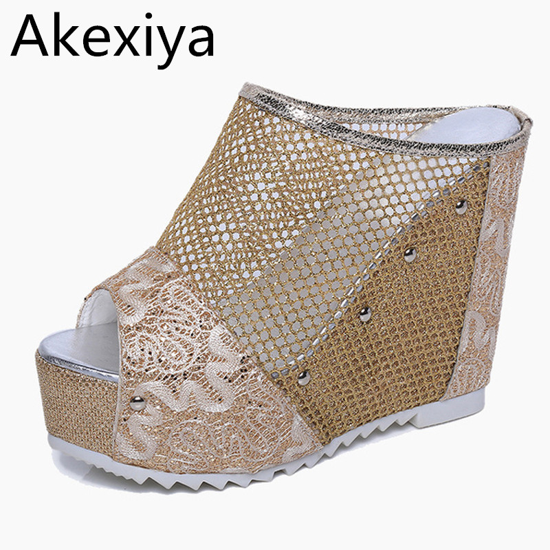 Akexiya Mesh Wedges Sandals Summer Gladiator Sandals Platform Shoes Woman Slip On Creepers Slippers Gold Silver Slides