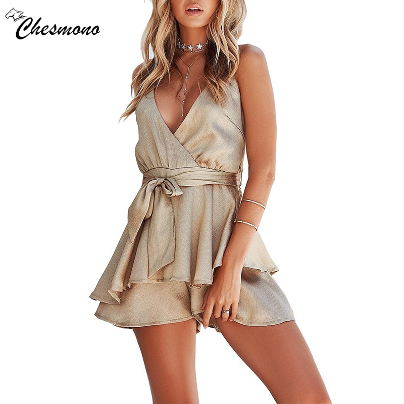 Backless strap satin short playsuit women V neck ruffle sash casual 2018 Summer style mini playsuit female Romper