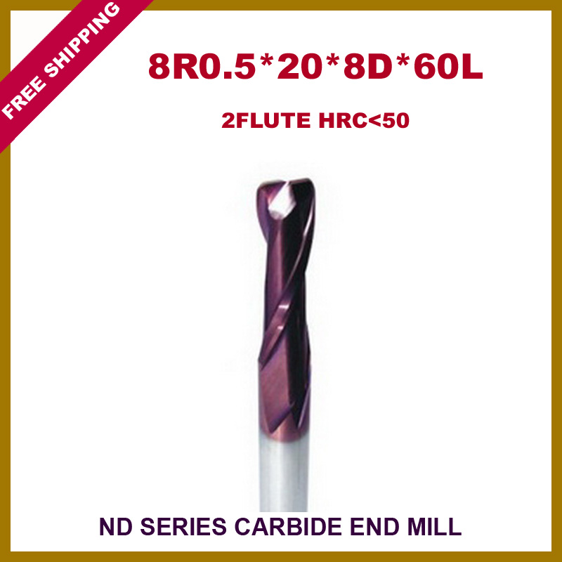Free Shipping 5pcs 8R0.5*20*8D*60L*2F Carbide Corner Radius End Mill  HRC<50 With Coatting For CNC machine  цены