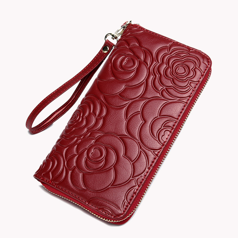 Vintage Floral Wallets Women Wallets Genuine Leather Long Wallets clutch hasp Purse luxury brand ladies coin purse TBW38 naisibao 2017 luxury genuine leather women long wallet brand purse ladies clutch vintage designer printing wallets chinese style