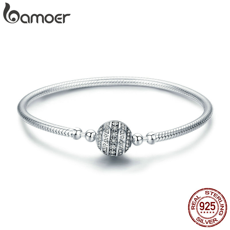 BAMOER Authentic 100% 925 Sterling Silver Dazzling Clear CZ Round Clasp Snake Chain Bracelet Sterling Silver Jewelry SCB062 925 sterling silver cz by the yard anklet bracelet 10