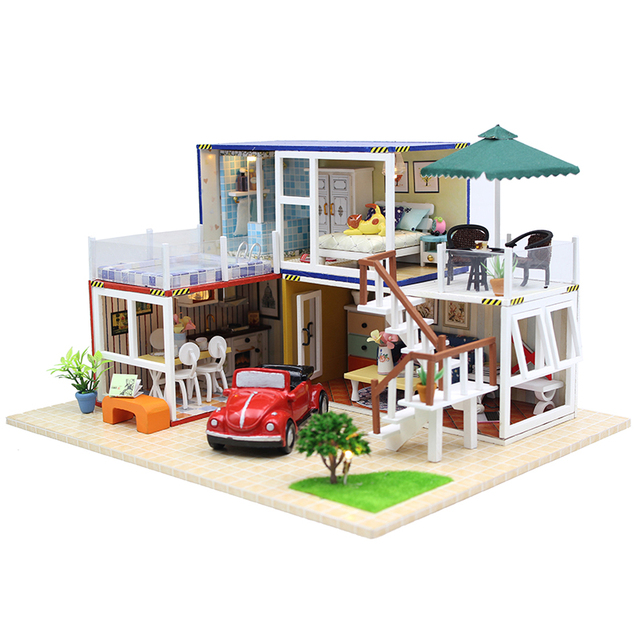 Hot Sale DIY Doll House Wooden Miniatura Doll Houses Miniature dollhouse With Furniture LED Lights Birthday Gift 13842