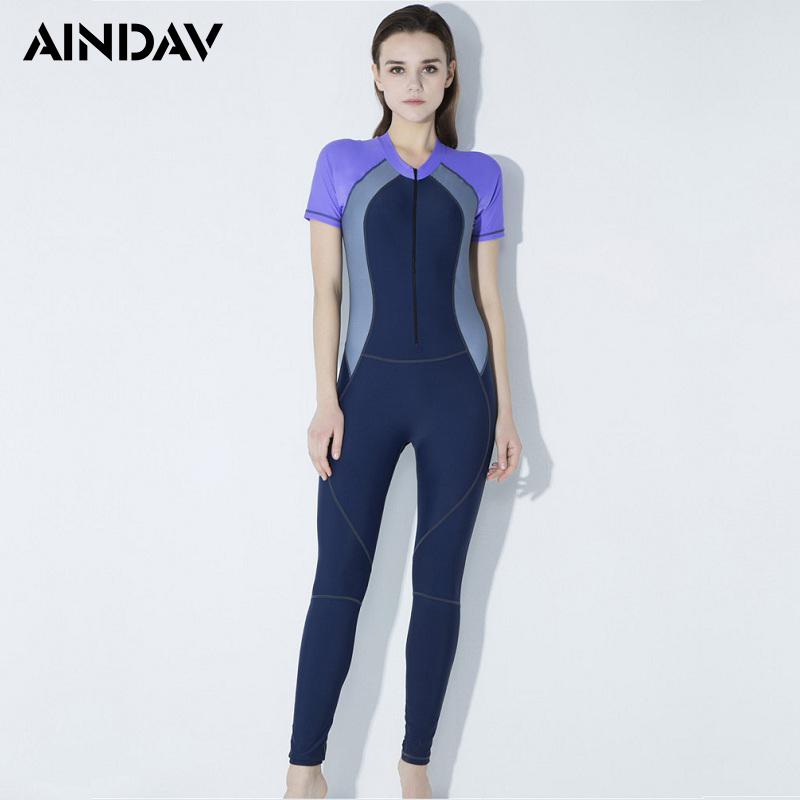 modern style big clearance sale where to buy US $19.49 30% OFF Short Sleeve Swimwear Full Body Swimsuit Women One Piece  Sport Bathing Suit Rash Guard Sunscreen Surf Swimming Suit Wetsuits-in Body  ...