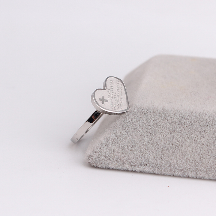 free shipping Silver Bible Cross Heart 316L Stainless Steel finger rings for women wholesale