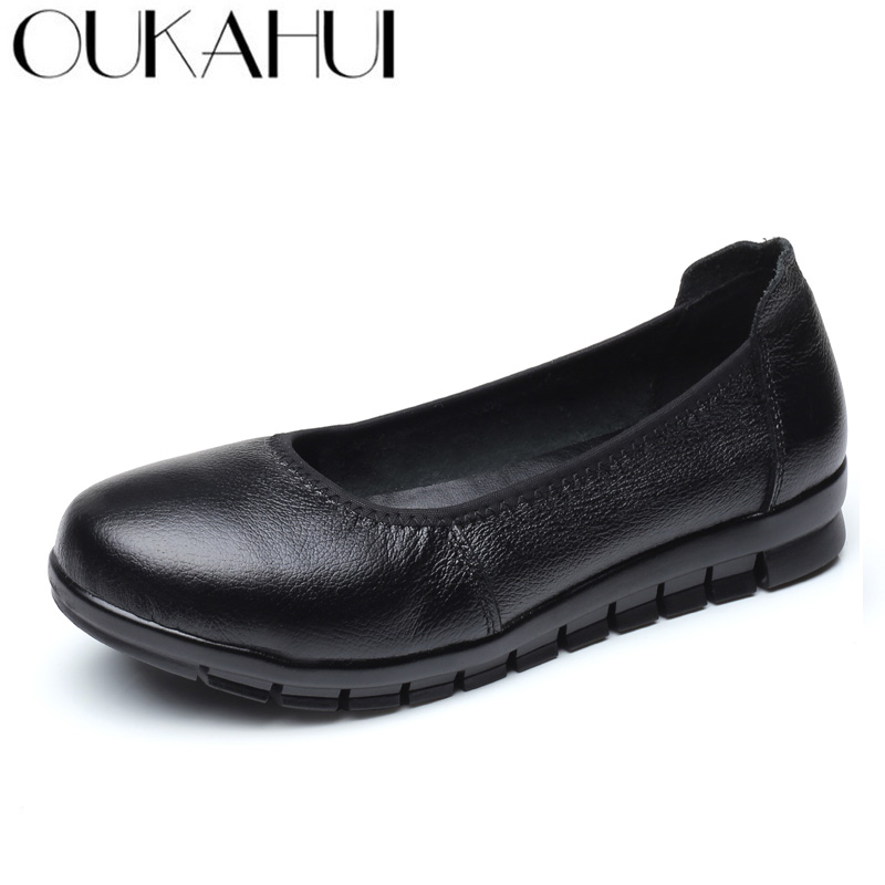 OUKAHUI Spring Simple Genuine Leather Flat Work Shoes Women Ballet Flats Solid Round Toe Non-Slip Soft Comfortable Ladies Shoes 2016 mother shoes genuine leather loafers woman solid color soft comfortable ballet flats flexible round toe ol lady work shoes