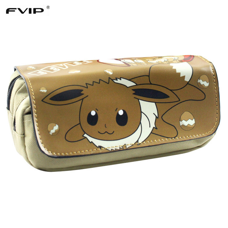 FVIP Free Shipping Pokemon Eevee Pencil Pen Case Game Pokemon Go Cosmetic Makeup Coin Pouch Double Zipper Bag