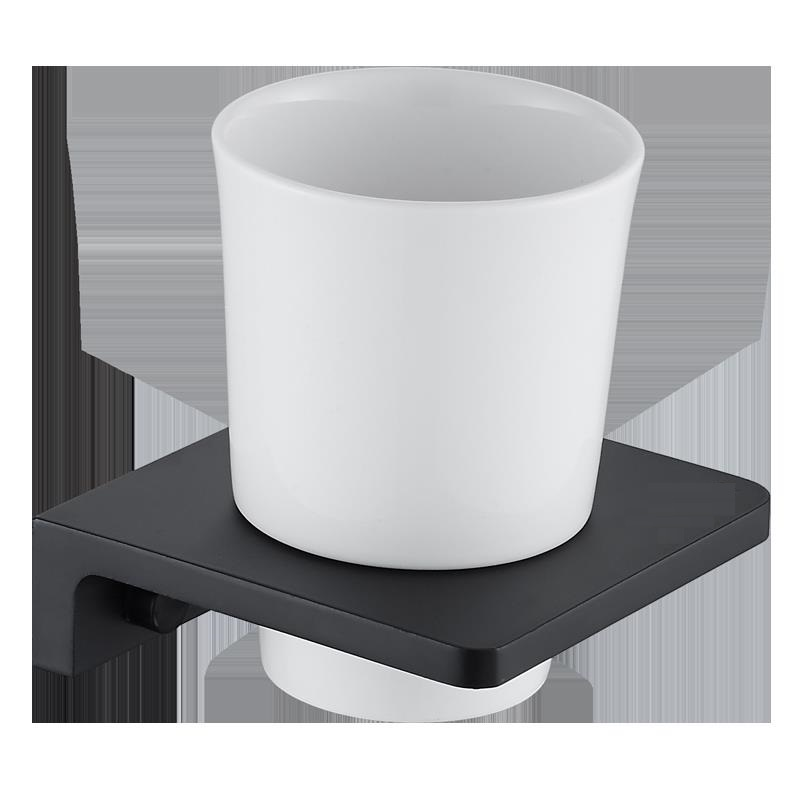 Matt Black Toothbrush Holder Wall Mounted Toothbrush Cup Holder wthite Solid space aluminum Shelves With Single Ceramics Cup Set image