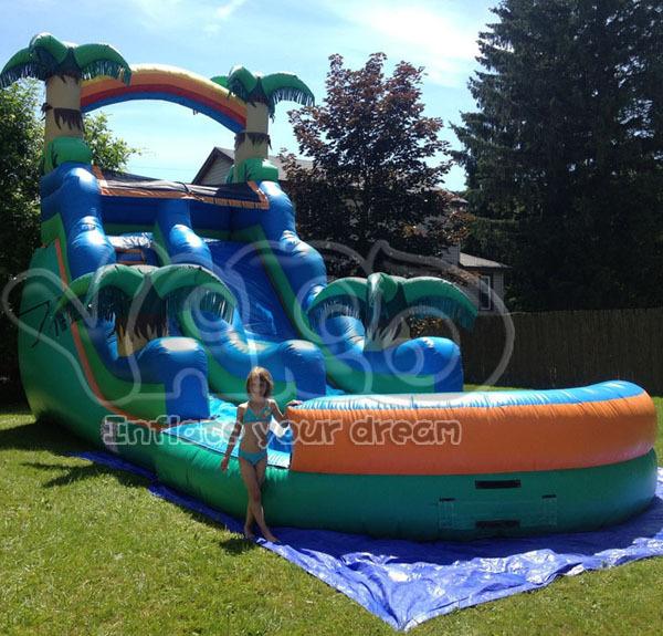 Selva súper tobogán inflable, tobogán de agua con piscina