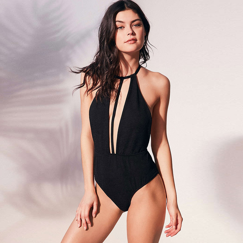 hollow deep V one piece swimsuit sexy swimwear woman 2018 retro high waist bikini vintage high