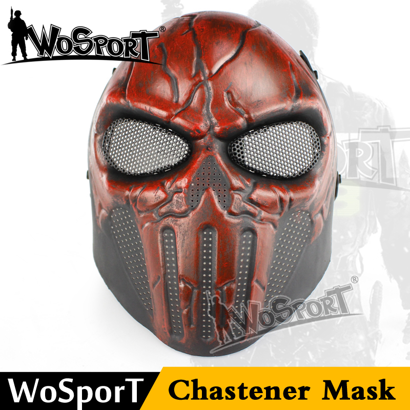 WoSporT Airsoft Paintball Steel Skull FullFace Mask Chastener Ear-protective Halloween Party Field Wargame Cosplay Movie CS Prop